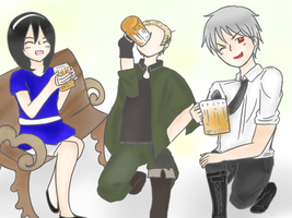 Commission - German Brothers and Teressa by angiecake66