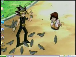 Yami and the Pigeons Desktop by PharaohAtisLioness