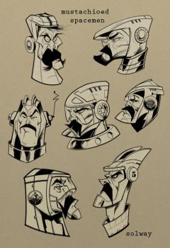 Mustached Spacemen by Kravenous