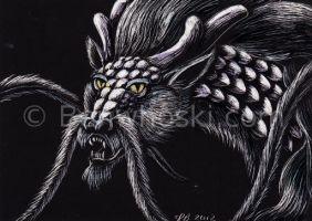 ACEO Scratchboard Dragon 5 by benwhoski