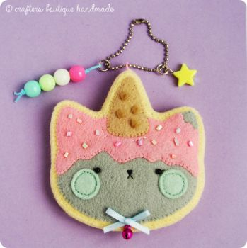 Kity Cat Ice Cream Sugar Cookie Charm by CraftersBoutique