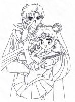 Sailor Moon and Tuxedo Mask by Allexaire