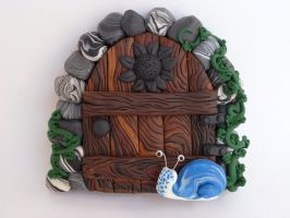 Sunflower Snail Fairy Door by FlyingFrogCreations
