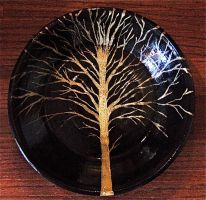tree shallow bowl in black by thebigduluth