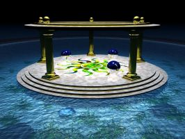 Atlantean Sun Shrine At Night by someole3d