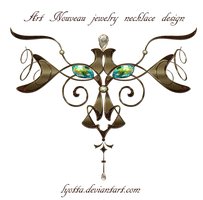 Art Nouveau jewel necklace design by Lyotta