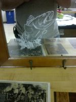 Bass Etching on Mirror by ckatt01