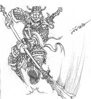 sketch of Chinese warrior by benryyou