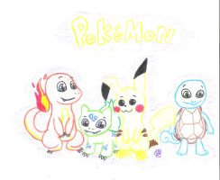 Kanto Starters and Pikachu by uhnevermind