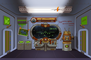Cartoon style spaceship interior by Vadich