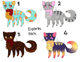 5 Points Feline Adopts [CLOSED] by x3Lynnx