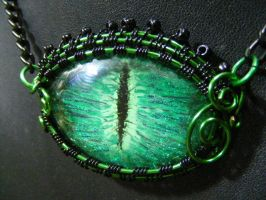 Wire wrapped green eye by BacktoEarthCreations