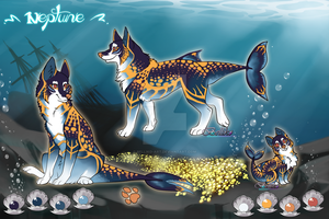Neptune/ fish Canine Adoptable/ AUCTION (CLOSED) by Belliko-art