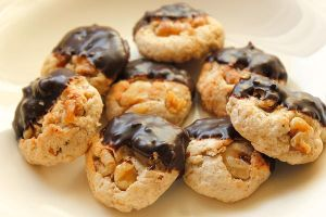 Homestyle Walnut Cookies Dipped in Dark Chocolate by ScarletWarmth