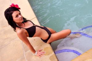 Tara - black swimsuit at pool 4 by wildplaces