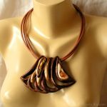 Wooden necklace with amber 1581 by AmberSculpture