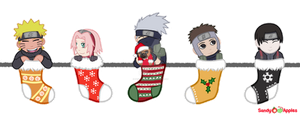Team 7 Stockings by Sandy--Apples
