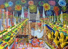 naive paintings fireworks starry night painting by shharc