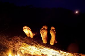 Feet and Campfire by J-A-Y-E
