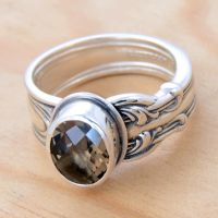 Spoon Ring with Smoky Quartz by metalsmitten