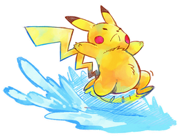 Surfing Pikachu? by super-tuler