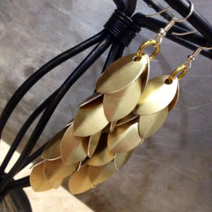 Long Gold Shaggy Scale Earrings by Utopia-Armoury