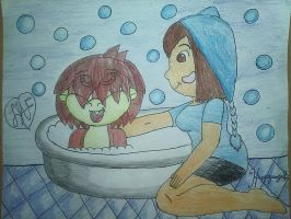 Gift/Idea: Baby Ronic gets a bath by happyangelface