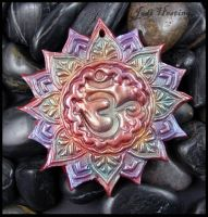 Polymer Clay Amulet Penant - Lotus Ohm by andromeda