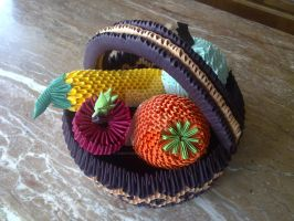 Origami fruit basket by KibaPandaRo