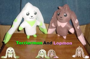 Terriermon and Lopmon by TashaAkaTachi