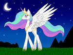 Princess Celestia walking at night by Estherenn