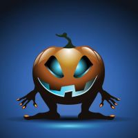Vector 3d Halloween with blue background by cgvector