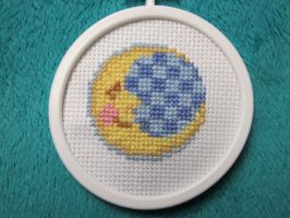 Sleepy Moon Cross-Stitch by mystacisms