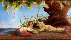 Under the tree by Blackwolfpaw