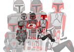 Red and gray and black Mandalorians by mahiyanacarudla