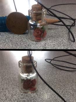 Polymer Clay: Rose in a bottle necklace by dianita98