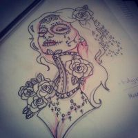 Neck corset sugar skull girl Twisted by heartsandanchors