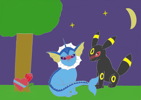 Vaporeon and Umbreon Valentines Day by MNIM73