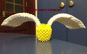 3D Origami Golden Snitch by BrownBlurry