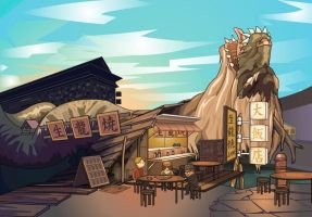 China Cartoon Background by Encho