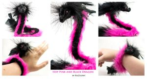 Hot Pink and Black Wrist Dragon (Multiple Views) by BeeZee-Art