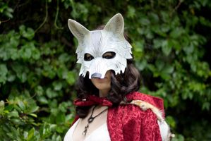 White Wolf Fantasy Leather Mask by b3designsllc