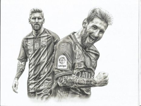 Messi realistic Drawing by JesusCuellar