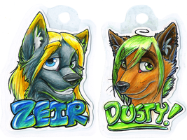 Zeir and Dusty Badges by bingles