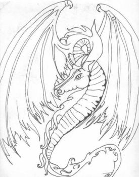 Outline of Tribal Dragon Tatt Concept by DzdNCnfzd