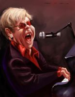 Elton John caricature by DevonneAmos