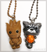 Rocket and Groot Chibi Pendants by Comsical