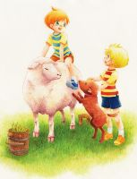 MOTHER3 sheep and twins by ichiyon