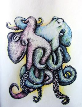 Sketch two octopus by KateHubar