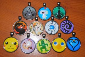 Gamer Pendants by zeldalilly